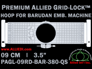 9 cm (3.5 inch) Round Premium Allied Grid-Lock Plastic Embroidery Hoop - Barudan 380 QS