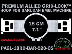 18 cm (7.1 inch) Round Premium Allied Grid-Lock Plastic Embroidery Hoop - Barudan 520 QS