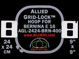 24 x 24 cm (9 x 9 inch) Square Allied Grid-Lock Plastic Embroidery Hoop - Bernina 400