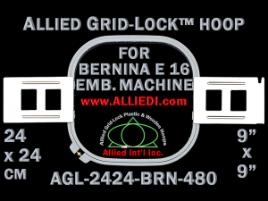 24 x 24 cm (9 x 9 inch) Square Allied Grid-Lock Plastic Embroidery Hoop - Bernina 480