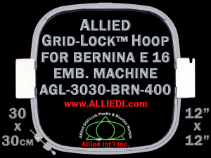 30 x 30 cm (12 x 12 inch) Square Allied Grid-Lock Plastic Embroidery Hoop - Bernina 400 - Allied May Substitute this with Premium Version Hoop