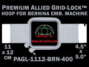 11 x 12 cm (4.5 x 5 inch) Rectangular Premium Allied Grid-Lock Plastic Embroidery Hoop - Bernina 400