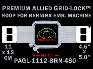 11 x 12 cm (4.5 x 5 inch) Rectangular Premium Allied Grid-Lock Plastic Embroidery Hoop - Bernina 480