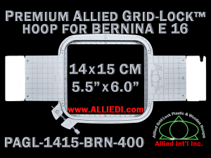 14 x 15 cm (5.5 x 6 inch) Rectangular Premium Allied Grid-Lock Plastic Embroidery Hoop - Bernina 400