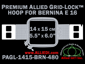 14 x 15 cm (5.5 x 6 inch) Rectangular Premium Allied Grid-Lock Plastic Embroidery Hoop - Bernina 480