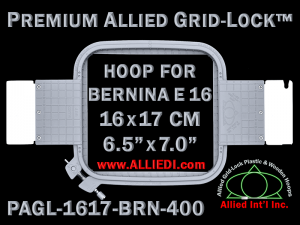 16 x 17 cm (6.5 x 7 inch) Rectangular Premium Allied Grid-Lock Plastic Embroidery Hoop - Bernina 400