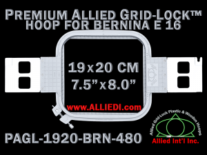 19 x 20 cm (7.5 x 8 inch) Rectangular Premium Allied Grid-Lock Plastic Embroidery Hoop - Bernina 480