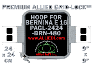 24 x 24 cm (9 x 9 inch) Square Premium Allied Grid-Lock Plastic Embroidery Hoop - Bernina 480