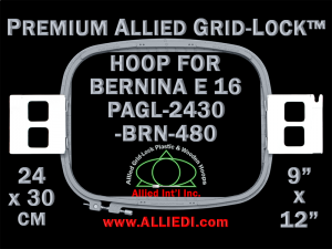 24 x 30 cm (9 x 12 inch) Rectangular Premium Allied Grid-Lock Plastic Embroidery Hoop - Bernina 480