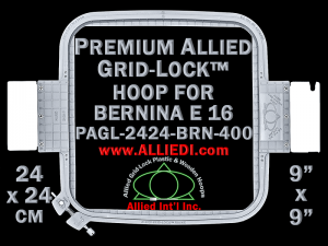 24 x 24 cm (9 x 9 inch) Square Premium Allied Grid-Lock Plastic Embroidery Hoop - Bernina 400