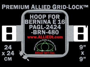 24 x 24 cm (9 x 9 inch) Square Premium Allied Grid-Lock Plastic Embroidery Hoop - Bernina 480