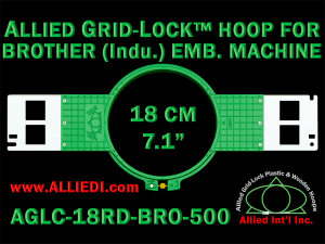 Brother 18 cm (7.1 inch) Round Allied Grid-Lock Embroidery Hoop (New Design) for 500 mm Sew Field / Arm Spacing