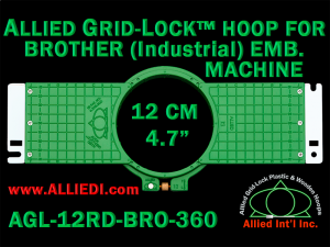 12 cm (4.7 inch) Round Allied Grid-Lock (New Design) Plastic Embroidery Hoop - Brother 360