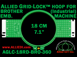 18 cm (7.1 inch) Round Allied Grid-Lock (New Design) Plastic Embroidery Hoop - Brother 360