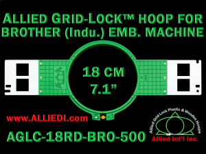 18 cm (7.1 inch) Round Allied Grid-Lock (New Design) Plastic Embroidery Hoop - Brother 500