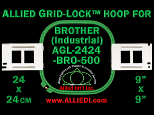 24 x 24 cm (9 x 9 inch) Square Allied Grid-Lock Plastic Embroidery Hoop - Brother 500