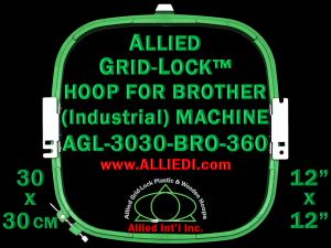 30 x 30 cm (12 x 12 inch) Square Allied Grid-Lock Plastic Embroidery Hoop - Brother 360