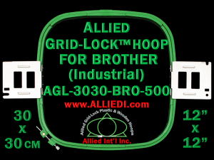 Brother 30 x 30 cm (12 x 12 inch) Square Allied Grid-Lock Embroidery Hoop for 500 mm Sew Field / Arm Spacing - May Get Substituted with Premium Version Hoop