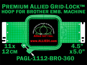 11 x 12 cm (4.5 x 5 inch) Rectangular Premium Allied Grid-Lock Plastic Embroidery Hoop - Brother 360