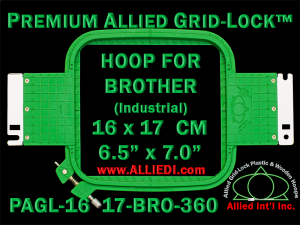 16 x 17 cm (6.5 x 7 inch) Rectangular Premium Allied Grid-Lock Plastic Embroidery Hoop - Brother 360