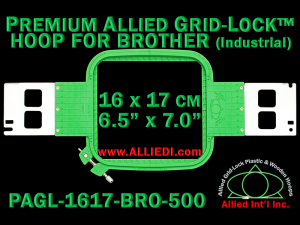 16 x 17 cm (6.5 x 7 inch) Rectangular Premium Allied Grid-Lock Plastic Embroidery Hoop - Brother 500