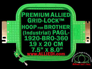 19 x 20 cm (7.5 x 8 inch) Rectangular Premium Allied Grid-Lock Plastic Embroidery Hoop - Brother 360