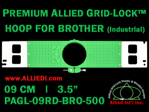 9 cm (3.5 inch) Round Premium Allied Grid-Lock Plastic Embroidery Hoop - Brother 500