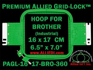16 x 17 cm (6.5 x 7 inch) Rectangular Premium Allied Grid-Lock Plastic Embroidery Hoop - Brother 360