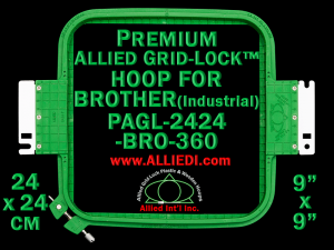 24 x 24 cm (9 x 9 inch) Square Premium Allied Grid-Lock Plastic Embroidery Hoop - Brother 360
