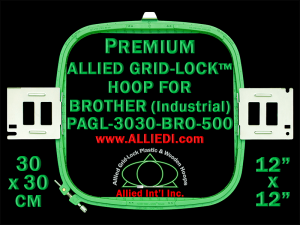 30 x 30 cm (12 x 12 inch) Square Premium Allied Grid-Lock Plastic Embroidery Hoop - Brother 500