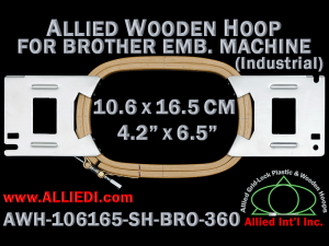 10.6 x 16.5 cm (4.2 x 6.5 inch) Rectangular Allied Wooden Embroidery Hoop, Single Height - Brother 360