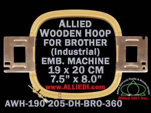 19.0 x 20.5 cm (7.5 x 8.1 inch) Rectangular Allied Wooden Embroidery Hoop, Double Height - Brother 360
