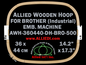 36.0 x 44.0 cm (14.2 x 17.3 inch) Rectangular Allied Wooden Embroidery Hoop, Double Height - Brother 500