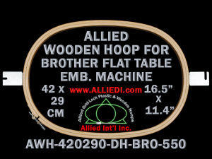 42.0 x 29.0 cm (16.5 x 11.4 inch) Oval Allied Wooden Embroidery Hoop, Double Height - Brother 550 Flat Table