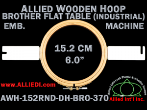 15.2 cm (6.0 inch) Round Allied Wooden Embroidery Hoop, Double Height - Brother 370 Flat Table