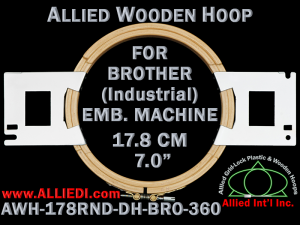 17.8 cm (7.0 inch) Round Allied Wooden Embroidery Hoop, Double Height - Brother 360