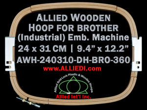 24.0 x 31.0 cm (9.4 x 12.2 inch) Rectangular Allied Wooden Embroidery Hoop, Double Height - Brother 360