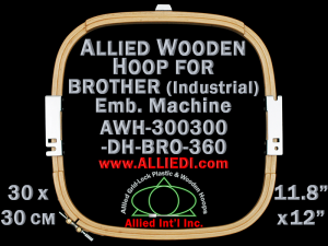30.0 x 30.0 cm (11.8 x 11.8 inch) Rectangular Allied Wooden Embroidery Hoop, Double Height - Brother 360