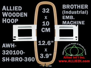 32.0 x 10.0 cm (12.6 x 3.9 inch) Rectangular Allied Wooden Embroidery Hoop, Single Height - Brother 360