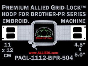 Brother PR 11 x 12 cm (4.5 x 5 inch) Rectangular Premium Allied Grid-Lock Embroidery Hoop for 504 mm Sew Field / Arm Spacing