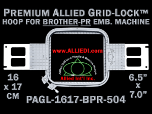 Brother PR 16 x 17 cm (6.5 x 7 inch) Rectangular Premium Allied Grid-Lock Embroidery Hoop for 504 mm Sew Field / Arm Spacing