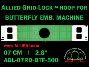 7 cm (2.8 inch) Round Allied Grid-Lock Plastic Embroidery Hoop - Butterfly 500