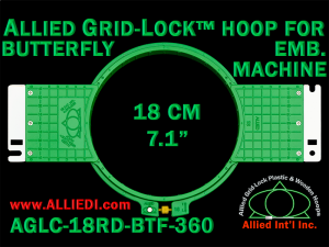 18 cm (7.1 inch) Round Allied Grid-Lock (New Design) Plastic Embroidery Hoop - Butterfly 360