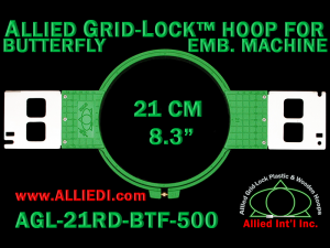 21 cm (8.3 inch) Round Allied Grid-Lock Plastic Embroidery Hoop - Butterfly 500