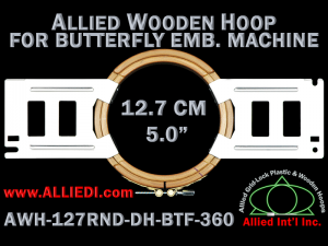 12.7 cm (5.0 inch) Round Allied Wooden Embroidery Hoop, Double Height - Butterfly 360
