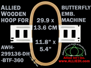 29.9 x 13.6 cm (11.8 x 5.3 inch) Rectangular Allied Wooden Embroidery Hoop, Double Height - Butterfly 360