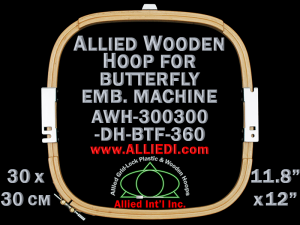 30.0 x 30.0 cm (11.8 x 11.8 inch) Rectangular Allied Wooden Embroidery Hoop, Double Height - Butterfly 360