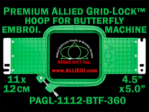 11 x 12 cm (4.5 x 5 inch) Rectangular Premium Allied Grid-Lock Plastic Embroidery Hoop - Butterfly 360