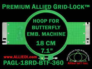 18 cm (7.1 inch) Round Premium Allied Grid-Lock Plastic Embroidery Hoop - Butterfly 360