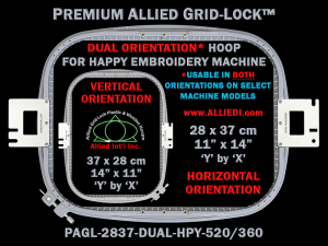 Happy 28 x 37 cm (11 x 14 inch) Rectangular Premium Allied Grid-Lock DUAL ORIENTATION Embroidery Hoop for 520 mm & 360 mm Sew Fields / Arm Spacings